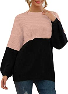 Womens Basic Round Neck Color Block Long Sleeve Knitted Sweater Jumper
