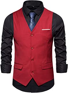 Mens Waistcoats Slim Fit Single Breasted Waistcoats Casual Formal Wedding Business Elegant Vintage Suit Vest Gilet Jacket ...