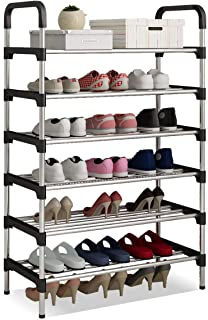 Shoes Rack Tower Shelf Stand Organizer Free Standing Stainless Steel Frame 6 Tier Holds 18 Pairs of Shoes for Home Hallway...
