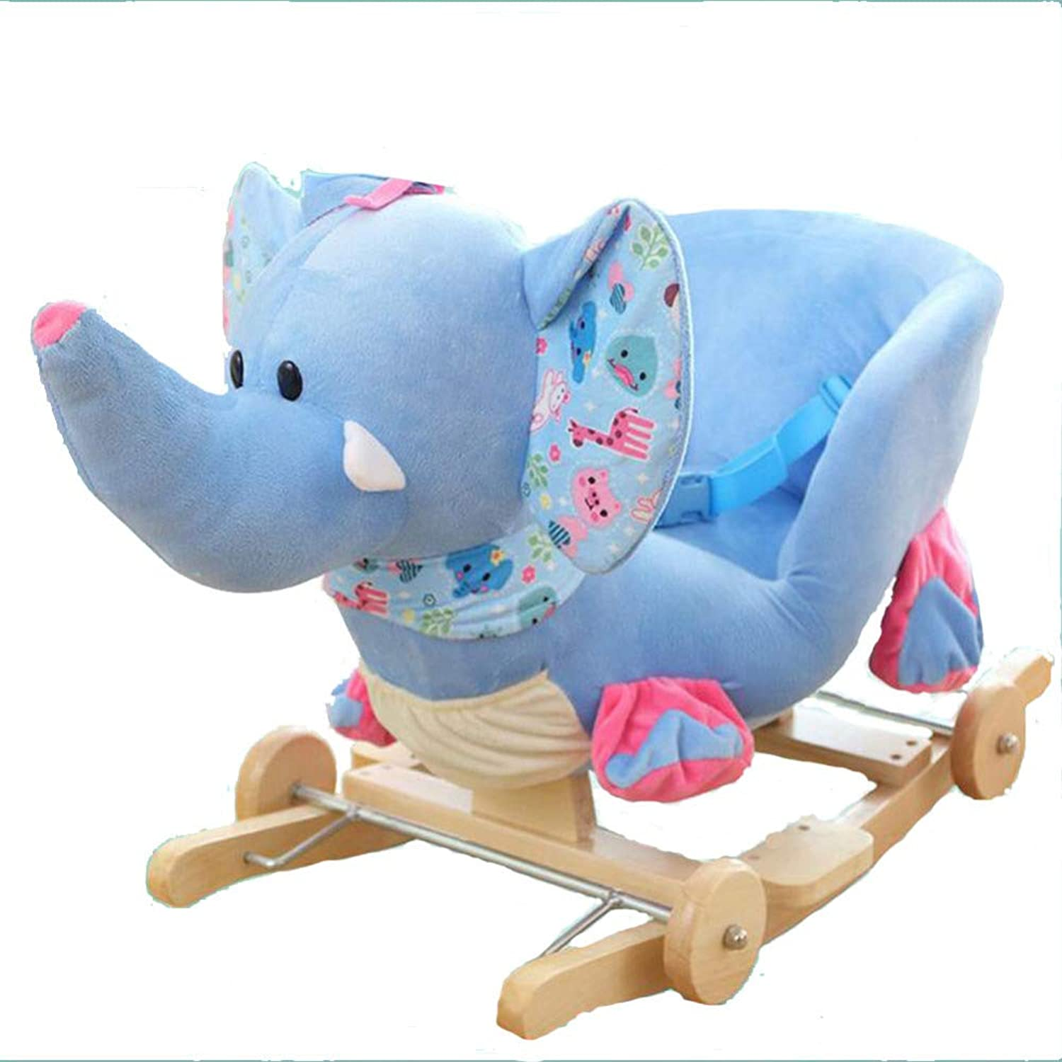Rocking Horse Wooden, Baby, Ride On Toy For 0-4 Year Old,Girl Baby Rocker,Plush, Riding Horse Toy,Lightbluee
