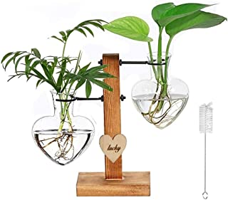 Double Heart Glass Hydroponic Vases, XUTONG Glass Plant Terrarium with Wooden Stand Modern Plant Propagation Station Deskt...