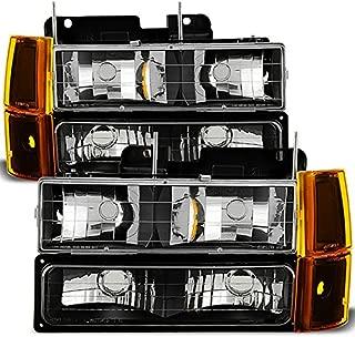 For Black 94-99 GMC Full Size Pickup Truck Suburban Sierra Headlights w/Corner + Bumper Signal Lamps