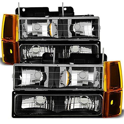 for black 94-99 gmc full size pickup truck suburban sierra headlights  w/corner