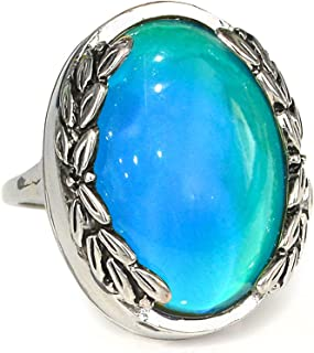Fun Jewels Antique Silver Color Plating Multi Color Change Oval Stone Leaf Statement Mood Ring Size 6-10