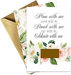 Graceful Floral Be My Bridesmaid Scratch Off Cards and Gold Envelopes – 8 Pack Bridesmaid, Maid of Honor and Matron