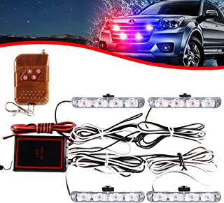 KaiDengZhe 4x4 LED 4 in 1 Surface Mount Grill Light DC12V Wireless Remote Emergency Flashing Beacon Lamp Ambulance Police ...