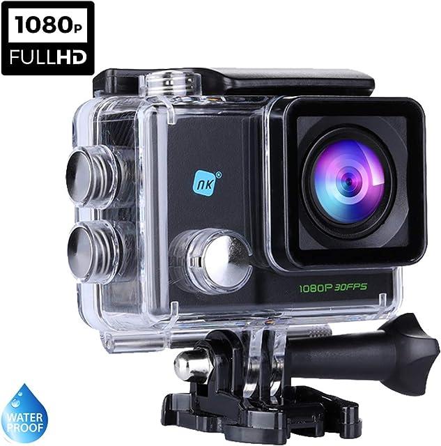NK Dive Cámara Deportiva subacuática 1080p (Alta Definición) Carcasa Impermeable 120º 4G Pantalla LCD Sensor GC0309 700mAh Negro (15 Accesorios Múltiples)