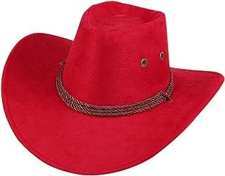 UwantC Mens Faux Felt Western Cowboy Hat Fedora Outdoor Wide Brim Hat with  Strap 6335bd24c98