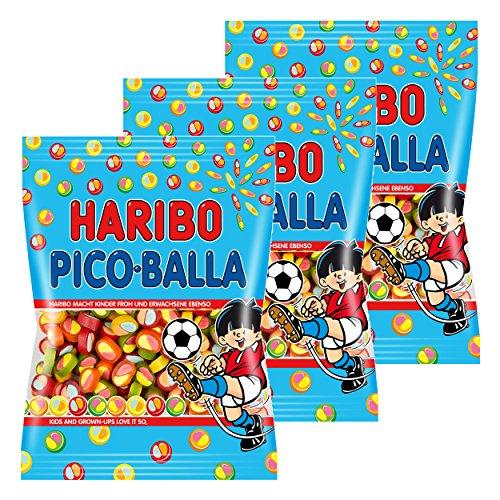 Haribo Pico-Balla, 3er Pack, Picoballa, Fruchtgummi, Weingummi, Gummibärchen, Im Beutel, 175 g