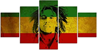 LIUZYU 5 Piece Canvas Paintings Posters & Prints Wall Art Giclee Decorative Paintings Printed Bob Marley Jamaica Painting Canvas Print Room Decor Poster Canvas Art Pictures-A2 Wooden Framed