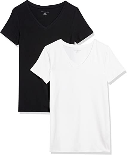 Amazon Essentials Women's 2-Pack Classic-Fit Short-Sleeve V-Neck T-Shirtwhite t shirt for women