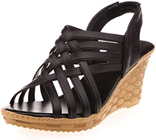 Women'S Sandals,Black Women Elegant Sandals,Women'S High Platforms Cut Outs Pattern Checkered Belt Gladiator Sandals,Lace Up Wedge Chunky Holiday Sandals