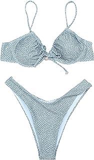 bbmee Polka Dot Swimsuits for Women,Halter Thong Bikini Set Underwire Adjustable Strap Cheeky 2 Piece Swimsuit Beachwear