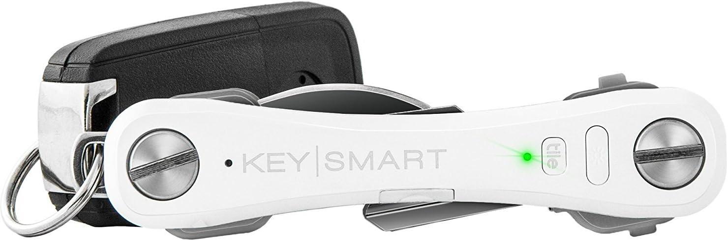 KeySmart Pro - Compact Key Holder w LED Light & Tile Smart Technology, Track your Lost Keys & Phone w Bluetooth (up to 10 Keys, White)