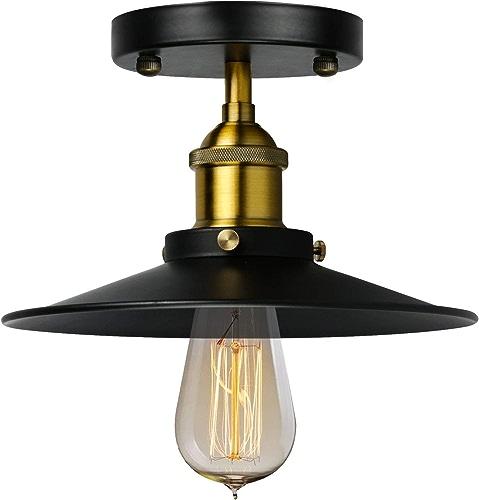CSDM.AI Lampe Suspension Vintage, Fer Forgé Creative Balcon Corridor Couloir Plafonnier E26 E27 Noir,110Ve26,22Cm