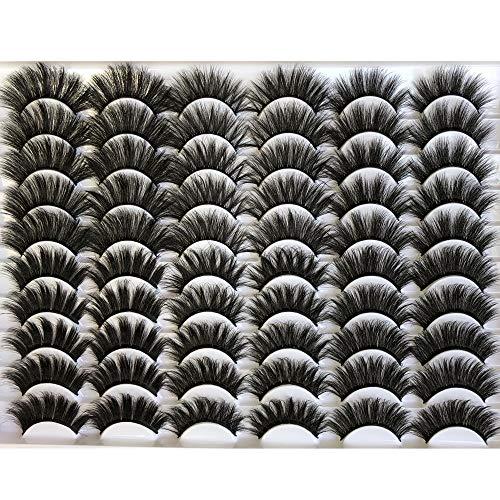 GMAGICTOBO False Eyelashes 30 Pairs Pack Faux Mink Lashes 20MM Long Dramatic 6 Styles Mixed 5D Fluffy Volume Thick Fake Eyelashes Soft Wispy Makeup Eye Lashes