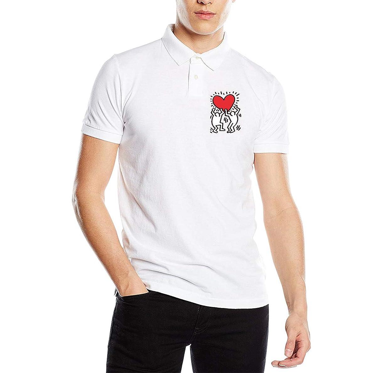 定期的なオーディションホールドポロシャツ 半袖 夏用メンズシャツ キースヘリング ボタンダウンポロシャツ スポーツウェア Tシャツ ティーシャツ シンプル カジュアル 通気性 吸汗性 快適 無地 薄手 テニス ゴルフ