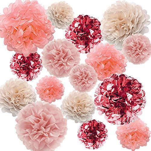 YZNLife 16 Stück Rose Gold Party Dekorationen – Metallic Seidenpapier Pom Poms Blumen Kit für Babyparty Brautparty Hochzeit Bachelorette Geburtstag Party (35,6 cm, 25,4 cm, 20,3 cm, 15,2 cm)