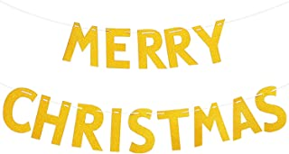 Livder Merry Christmas Banner Garland, Golden Glitter Letter Hanging Ornaments for Party Home Decorations Supplies