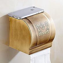ZMIN Gouden Plakpapier Houders, antiek gesneden Badkamer Tissue Box Grote Waterdichte Aluminium Geborsteld Roll Papier Hou...