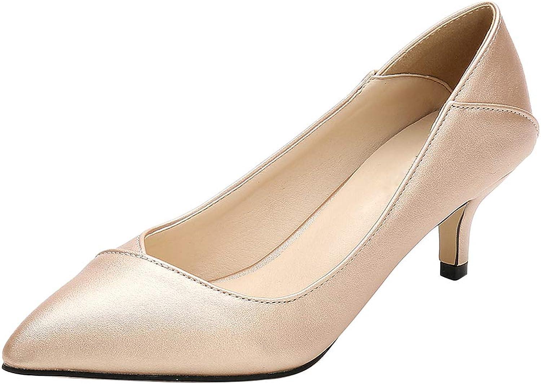 Sekesin Women's Classic Pointy Toe Kitten Heel Wedding Party Pumps Dress Work Low Heeled shoes