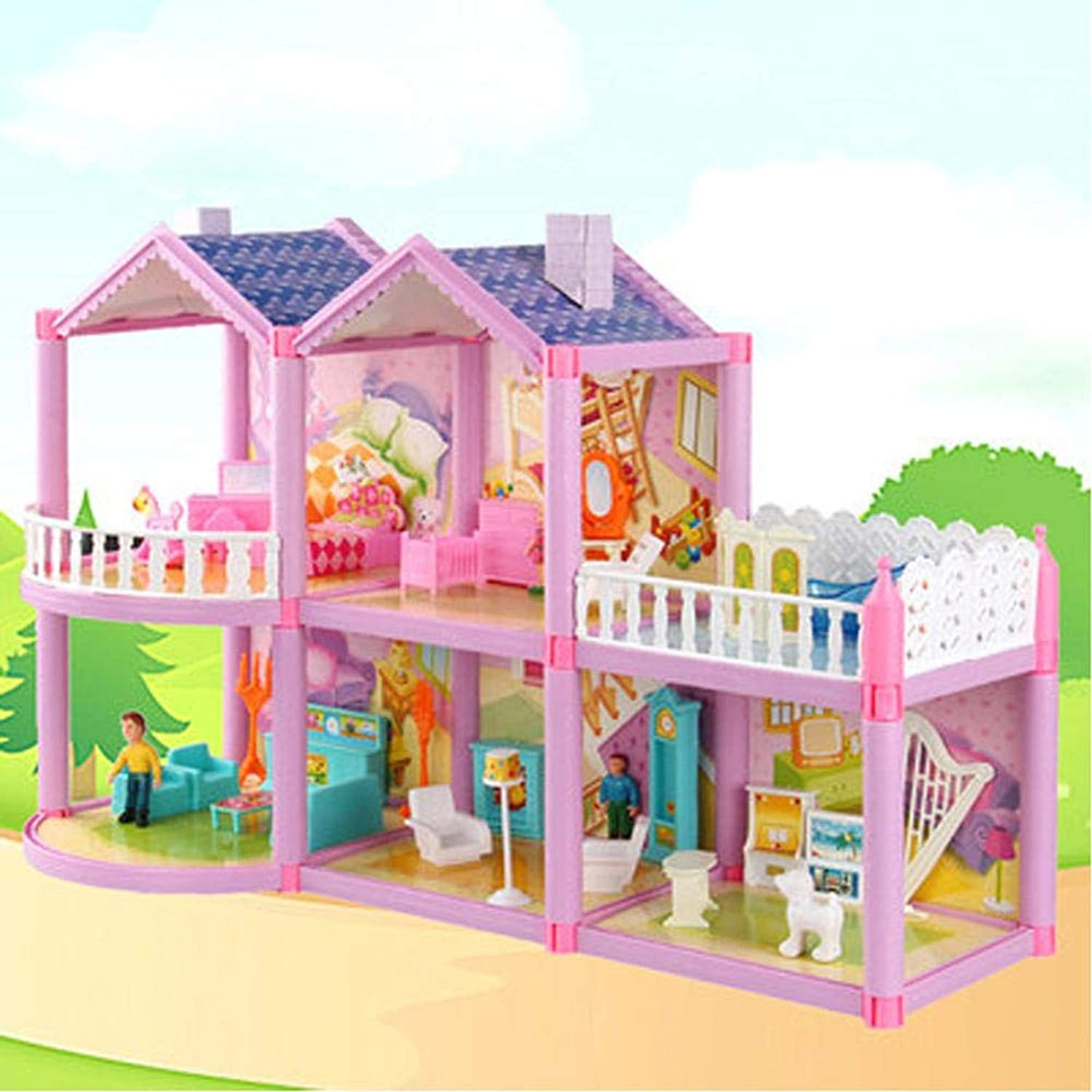 Pretend Play Doll House Toy Playset Portable Dollhouse, a Perfect Toddler Girls and Kids' Toy with Family, Pets, Kitchen Accessories