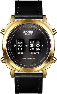 ساعة 1519 للرجال كوارتز الإبداعية رولينج تايم عرض الرياضة مقاومة للماء 3ATM الجلود ووتش باند ذكر