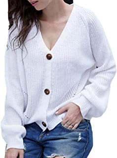 Women Solid V Neck Button Down Cardigan Sweaters Open Front Knit Cardigans