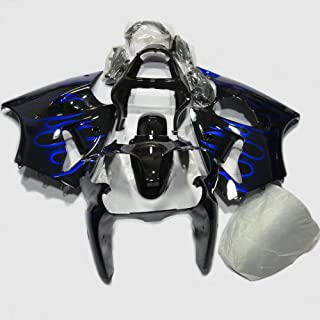 ABS Injection Molding - Black & Blue Flame Fairing Kit for Kawasaki Ninja ZX6R 636 (2000-2002) and ZZR600 (2005-2008)