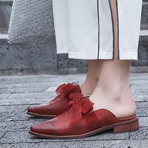 Qingchunhuangtang@ Le printemps et l'été Sandales pantoufles avec un épais Baotou Chaussures voitureré