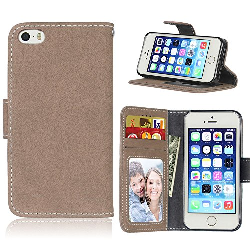 Zl One Matting PU Leather Protection 3 Card Slots Wallet Flip Case Cover for Apple iPhone 5 5S SE iPhone5 (Beige)
