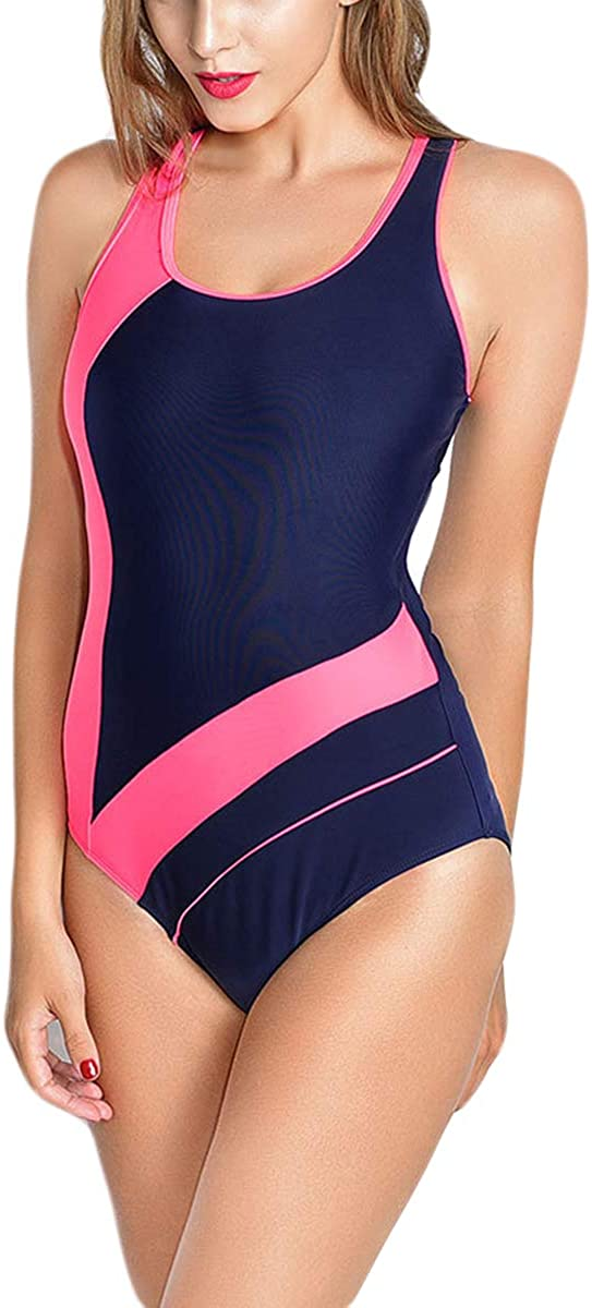 Womens Athletic Sport One Piece Swimsuit Tummy Control Swimwear Bathing Suits