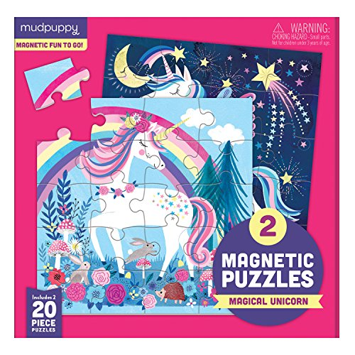 Mudpuppy Magical Unicorn Magnetic Puzzles – Ages 4-7 – Includes 2, 20-Piece Magnetic Puzzles and a Magnetized Tri-Fold Portfolio – Great for Travel, Quiet Time – Mess-Free Magnets Adhere to Portfolio