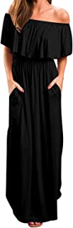 Kidsform Women's Off The Shoulder Maxi Dress Long Sleeve Floral Ruffle Party Side Split Beach Dresses with Pockets