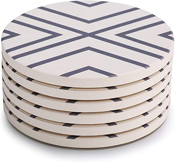 LIFVER 6 Pieces Household Costers Absorbent Stone Coaster Set Grey Lines