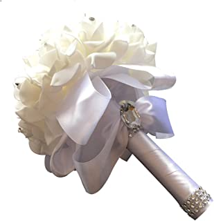 StillCool Still Pure-White Crystal Pearl Silk Roses Bridal Bridesmaid Wedding Bouquet (18cm24cm, Pure-White)