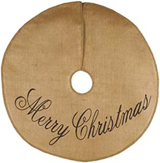 The Country House Collections 36 inch Merry Christmas Black Script All Cotton Burlap Christmas Tree Skirt