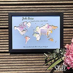 *Weltkarte* Geldgeschenk zur Hochzeit *Jede Reise.alles Liebe*