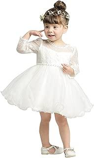 Baby Girls Long Sleeves Tulle Tutu Dress Christening Baptism Gowns