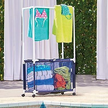 DermaPAD Rolling Pool Toy Storage Bin and Hamper with Towel Bar
