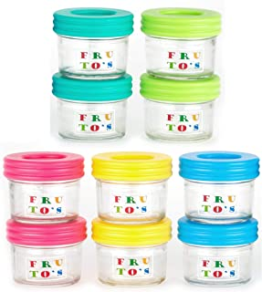 Glass Baby Food Storage Containers - Set Contains 10 Small Reusable 4oz Jars with Airtight Lids - Safely Freeze Your Homemade Baby Food