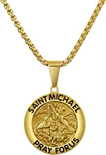 Valily St. Christopher Necklace Embossed Pattern 18K Gold Plated/Stainless Steel/Black Protector of Travelers Charm with 24 Inches Box Chain Gift for Men