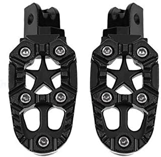 Ugthe 2Pcs/Set Universal 8mm Metal Motorcycle Off-road Foot Pegs Pedals Footrests - Black