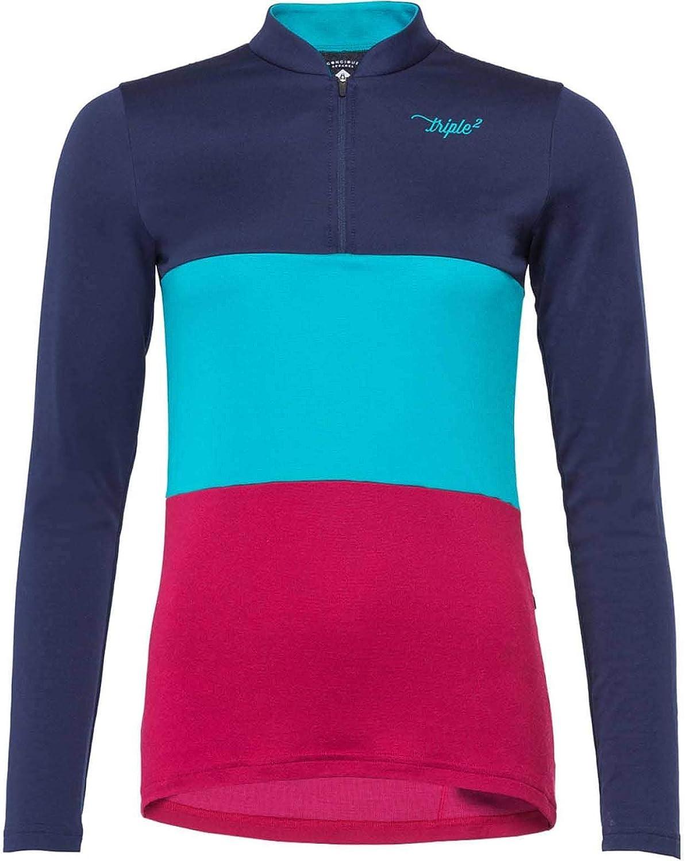 Triple 2 - Swet Merino Damen Radtrikot Langarm (blau rot) - XS