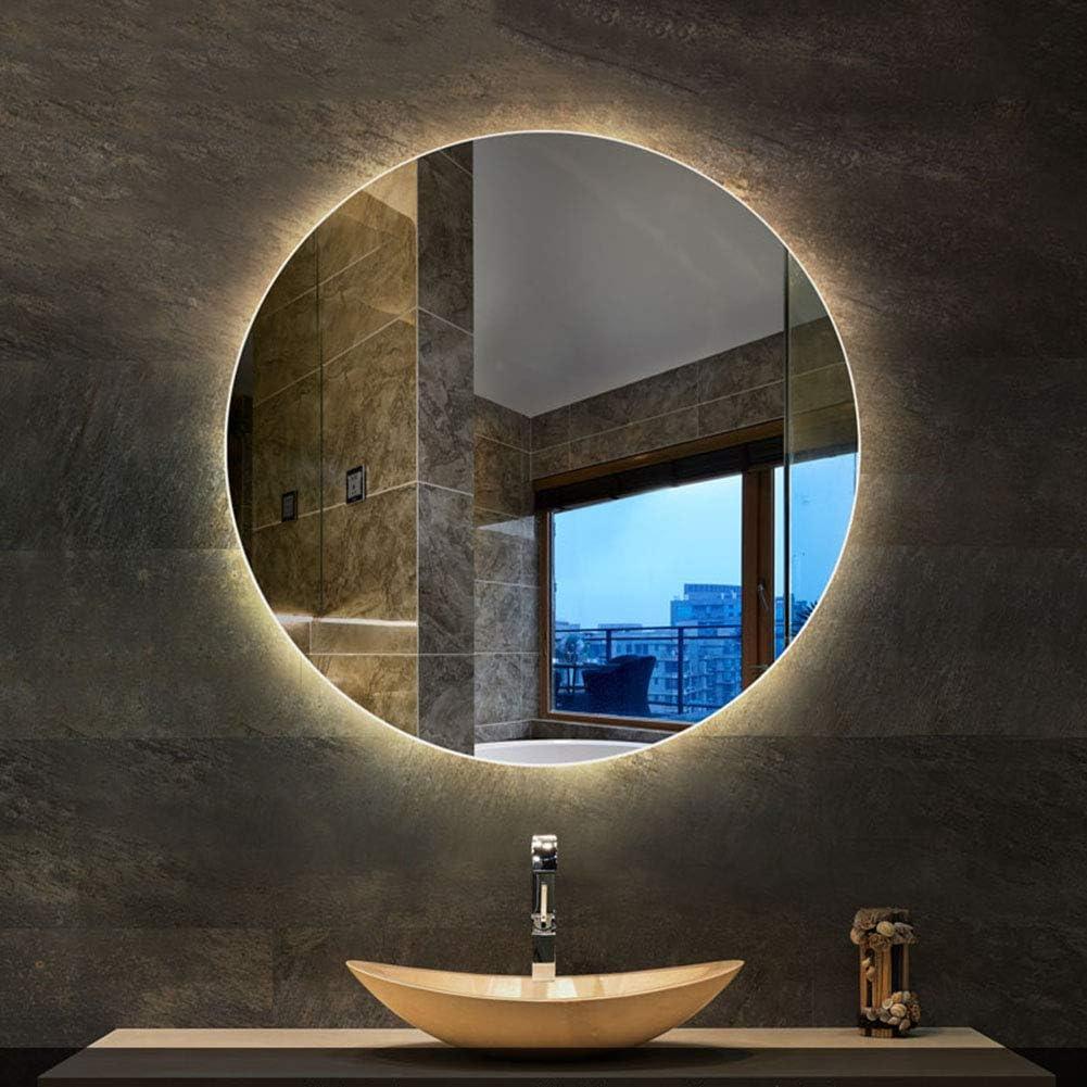 L Ed Mirror Led Round Backlit Bathroom Mirror Illuminated Wall Mount Anti Fog Makeup Mirror Amazon Co Uk Home Kitchen