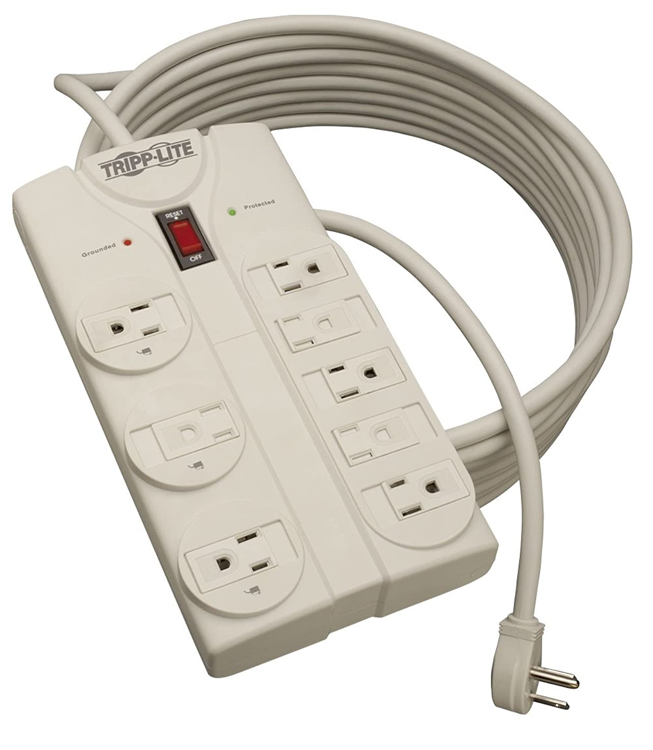 Tripp Lite 8 Outlet Surge Protector Power Strip, Extra Long Cord 25ft, Right-Angle Plug, Lifetime Limited Warranty & $75K INSURANCE (TLP825) qbeudadafcutm5