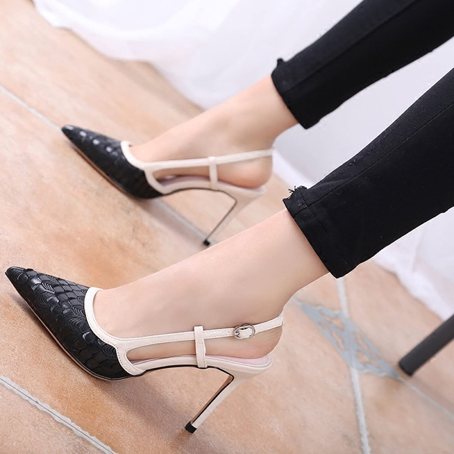 WLG Onestop buckle with serpentine leather pointed highheeled shoes wild new summer fashion shoes