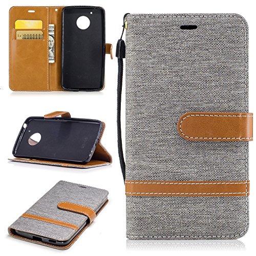 FEYYXI Handyhülle für Moto G5 Hülle Leder Schutzhülle Brieftasche mit Kartenfach Stoßfest Handyhülle Case für Motorola Moto G5 - FEBF21160 Grau
