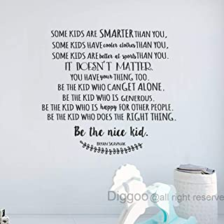 Diggoo Be The Nice Kid Wall Decal Bryan Scavnak Quote Vinyl Wall Lettering Inspirational Wall Words for Kids Room (Black,35.5