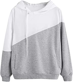 68c5e04a4f Women Teen Girls Hoodie Color Block Sweatshirt Long Sleeve Hooded Jumper  Pullover Ladies Casual Tops Blouse
